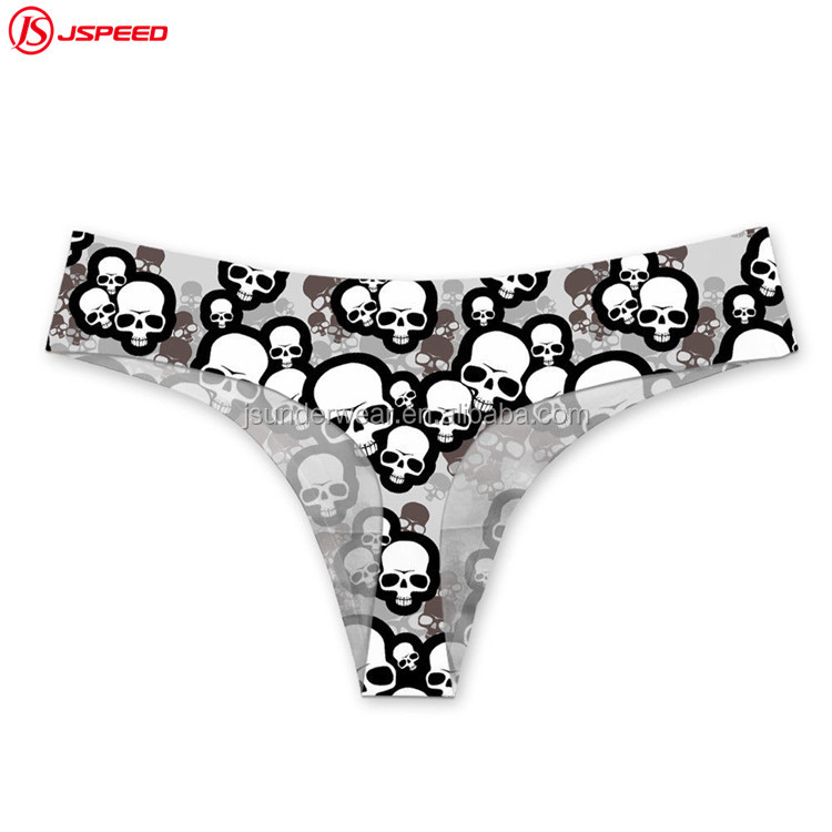 Woman Lady Sexy high cut Thong T-Back Black Panties Underwear with skull pattern