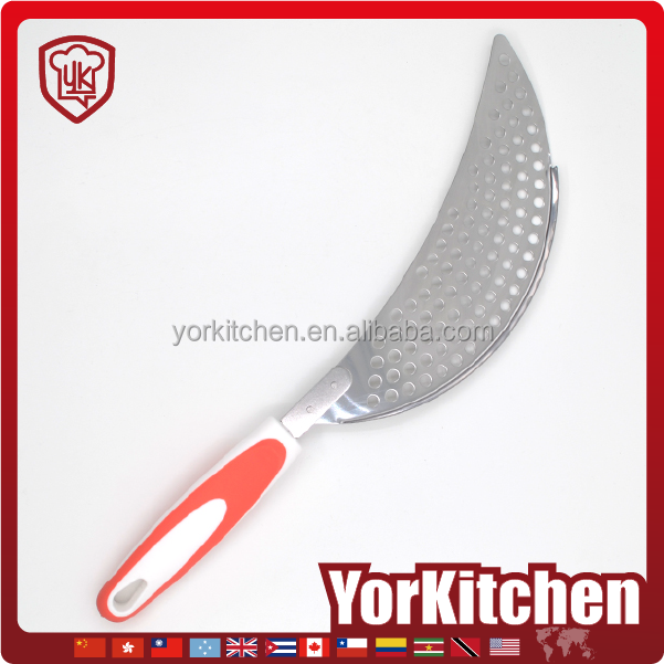 Unique design TPR handle Best quality stainless steel colander with long handle fruit colander