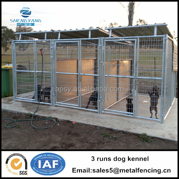 Hot sell 4.5mx3.0mx1.8m 3 runs dog house steel structure dog runs large dog kennels