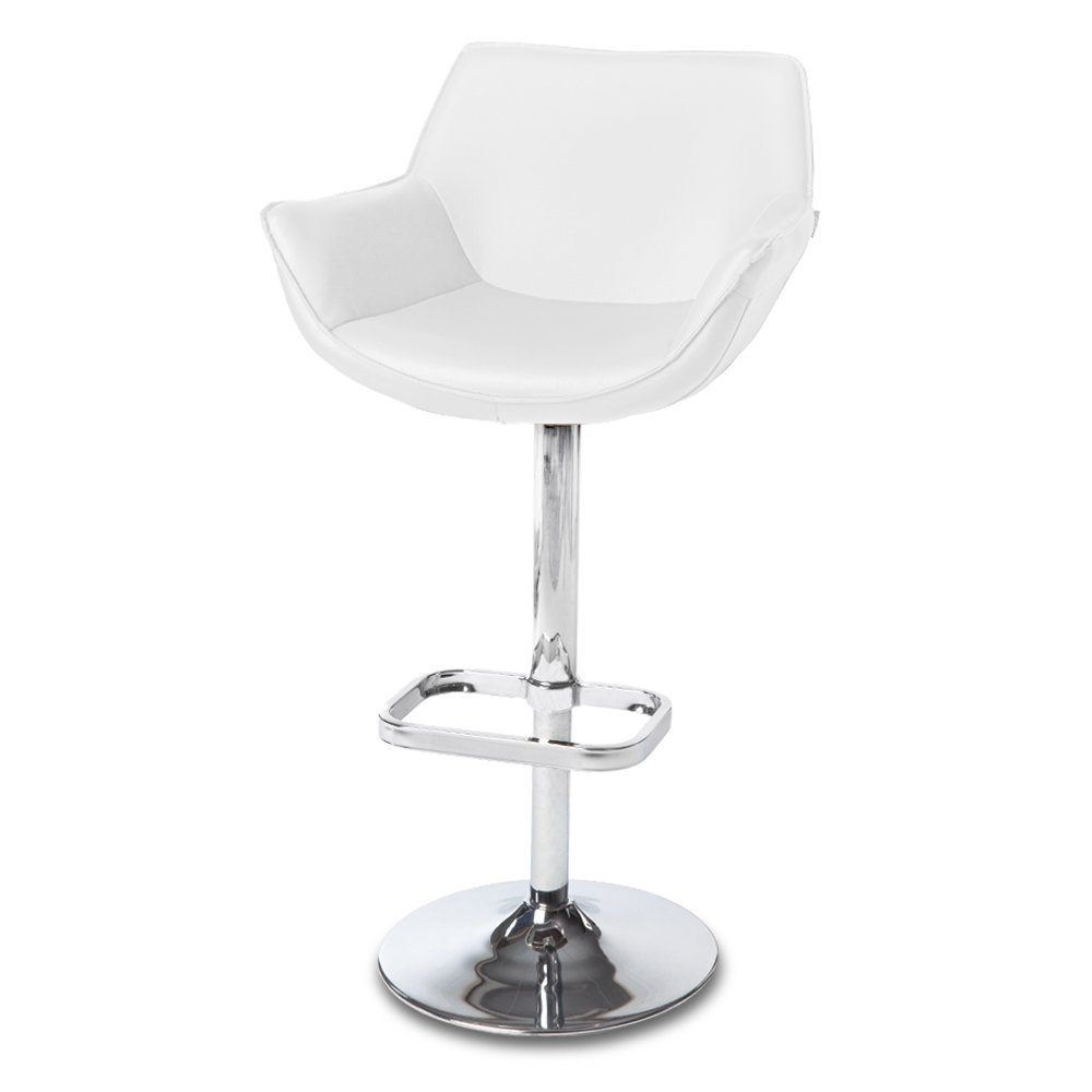 White Pinot Adjustable Height Swivel Armless Bar Stool