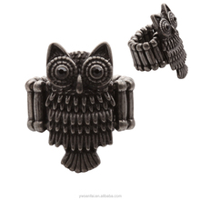 yiwu jewelry cheaper antique bronze black stone owl ring flexible designs for person
