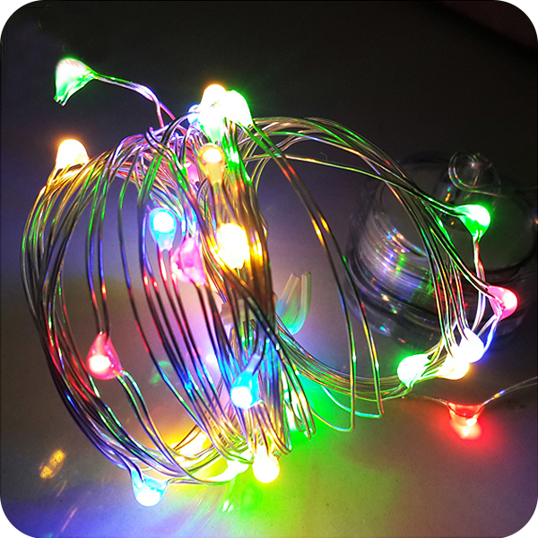 Led mini copper wire string lights button battery operated fairy lights