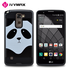 New design black small panda brushed tuff trooper hybrid protector cover case for LG stylo 2 plus MS550 K530 K536