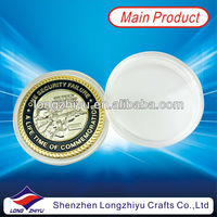 Military metal custom challenge coin medallion with two tones plated in plastic box packing for commemorative