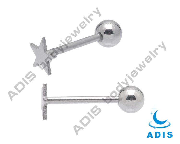 2013 Fashion Stainless Steel Tongue Barbell Logo Fake Tongue Piercing