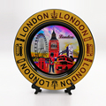 Unique style home decor gold ceramic plate with stand high quality custom collectible London souvenir plate