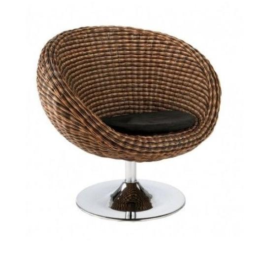 Modern Rattan Seagrass Swivel Chair With Chrome Base Brown ...