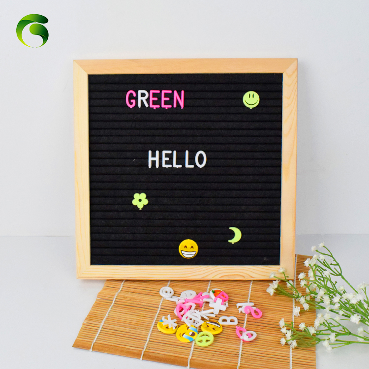 2019 Amazon hot sell wood craft products Green 10 <strong>x10</strong> felt letter board with oak solid frame