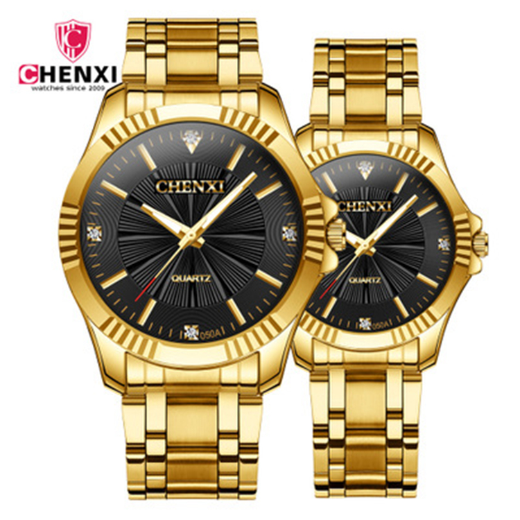 <strong>050</strong> <strong>A</strong> 7 CHENXI Clock Gold Fashion Men And Ladies Watch Full gold Stainless Steel Couple Watches Wholesale