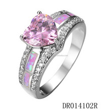 Silver 925 Jewelry Light Purple Fire Opal Ring with Pink Stone DR014102R