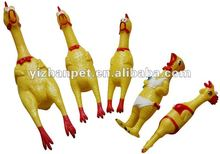 Plastic PVC shrilling chicken Pet Toy-Funny Yellow Rubber Screaming chicken