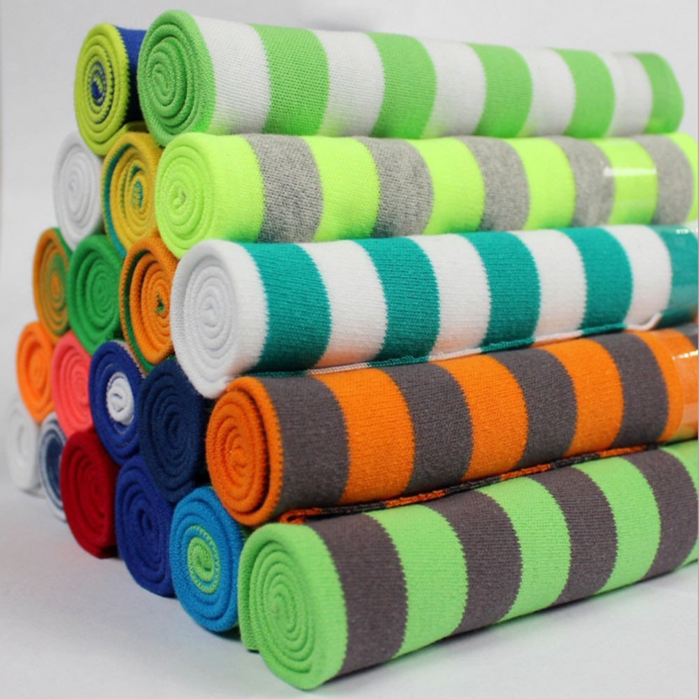95% cotton 5% double-sided spandex stripe jersey knit fabric