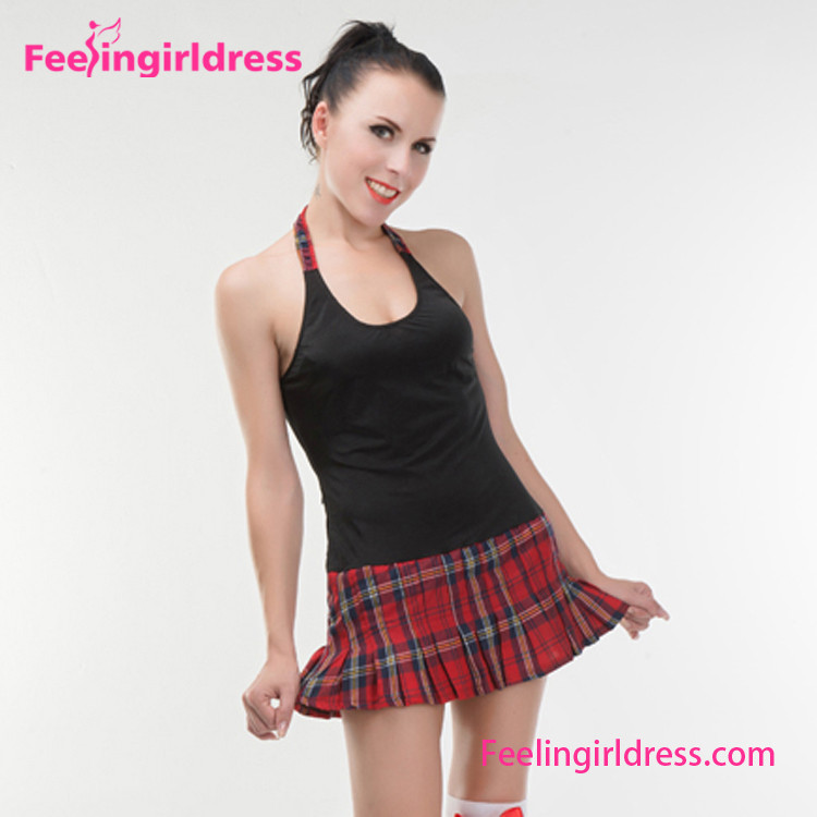 V Neckline Two Piece Costume Dress School Girl Sex Costume