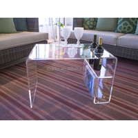 acrylic table with magazine rack