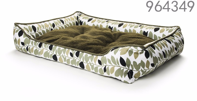 newest design waterproof canvas fabric nature leaf printing pattern special dog bed kennels with removable cushion