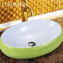 Small area green multi color oval custom ceramic art table top sink wash hand basin