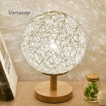 Rural style bedside lamp colorful decorative 18CM sepa takraw table lamp