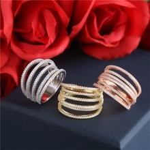 SJYPW11 New Arrival Exquisite Real Gold Plated 925 Silver Cubic Zirconia Paved Pure Color Stacking Six Lines Saddle Ring as Gift
