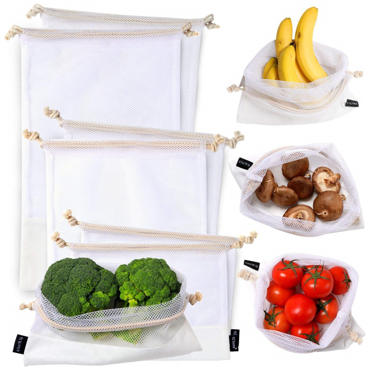 Eco Friendly Reusable Drawstring Polyester Mesh Produce Bags For Store Food Fruit Vegetable