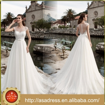 ASWY02 Plus Size Short Sleeve Applique Bridal Gowns Fashion Wedding Dress