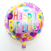 18 inch round shaped happy birthday China mylar balloons for party decorations or gift toys