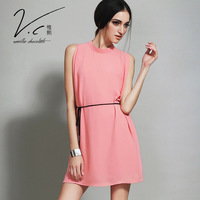 Vanillachocolate Contracted Fashion Dress 2015 New Designer Pure Color Sleeveless High Collar Vest Dresses With Woven belts