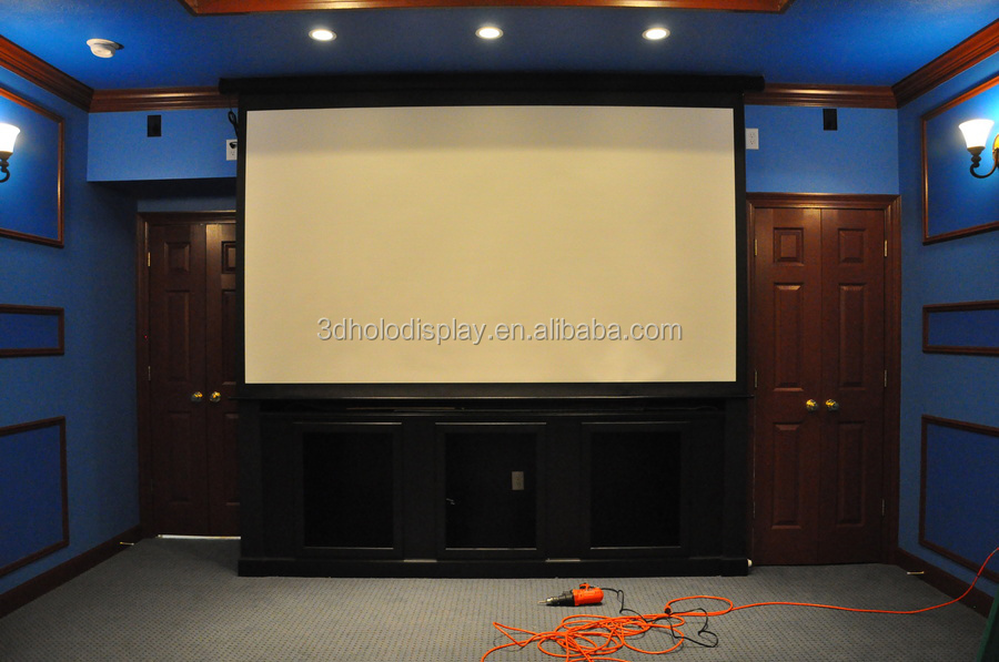 Home theater 16 9 150 electric projection screen for Motorized home theater screen