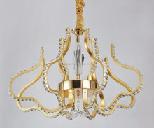 modern design decorative golden color aluminum and crystal material led pendant lamp