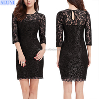 new arrival fashion ladies sexy party casual dress,3/4 sleeve black lace sheath dress,evening bandage dresses nylon