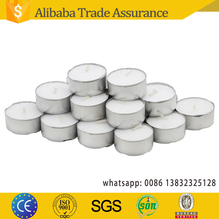 China factory wholesale 4hours 8hours yiwu tealight candles tea candel with tin holder