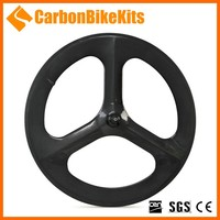 CarbonBikeKits 3SW-C 700c carbon track road bicycle 3 spoke wheel clincher