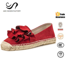 China Reliable Supplier Genuine Leather Hemp Rope Sole Women Casual Shoes