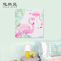 Hot selling wooden material flamingoes art decoration room wall hanging decor