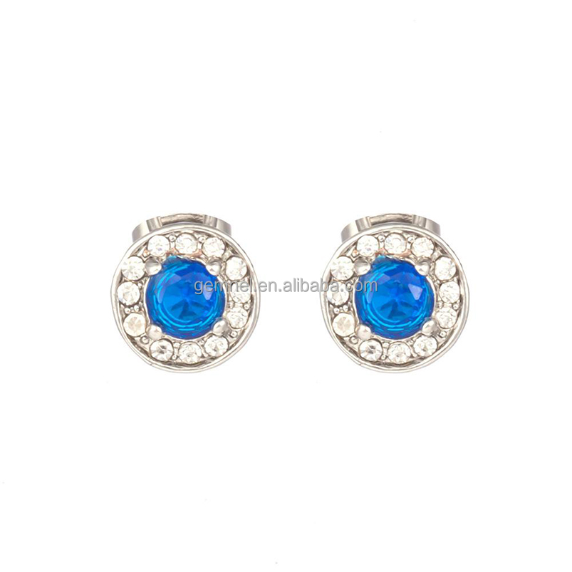 New arrival platinum round blue crystal top sale earring women jewelry