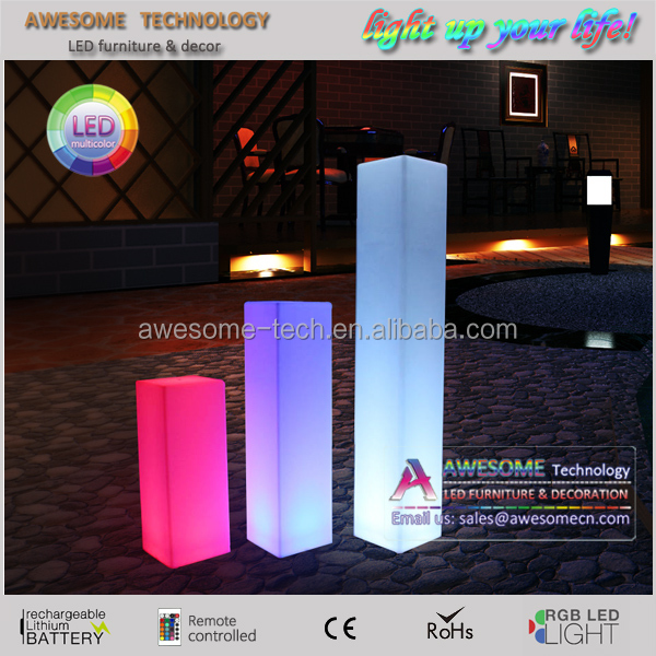 battery powered 16 color change led lighted acrylic pillars / clear acrylic wedding columns