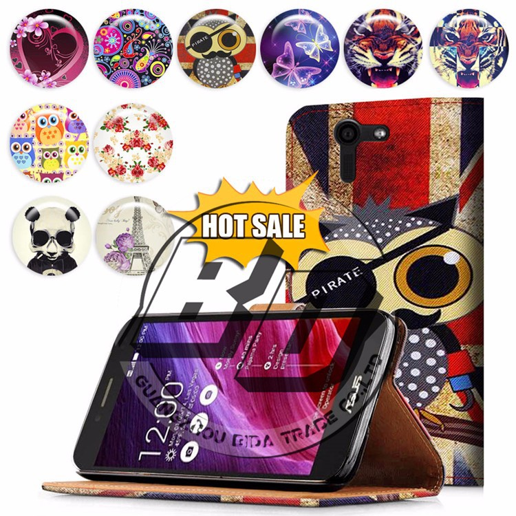 For Asus PadFone S case, book style wallet printed PU leather flip cover case for Asus PadFone S