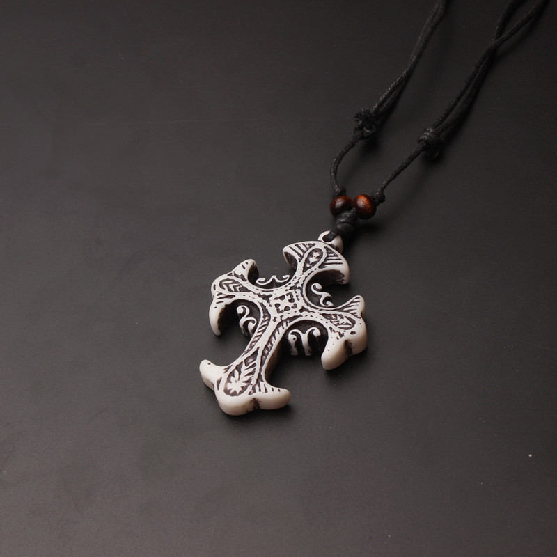 Quality resin bone caving Cross Men's Cross Gifts Pendants Necklaces Wax Cord Rope necklace