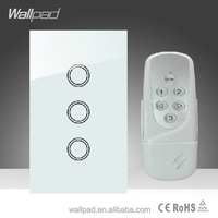 2015 New Wallpad LED White Tempered Glass 110~250V US/Australia Standard 3 gang Digital Remote Control Touch Light On Off Switch