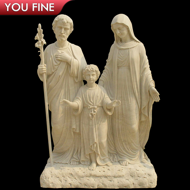 Handmade Classical Garden Beige Marble Holy Family Sculpture for Sale