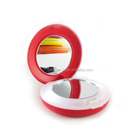 Round shape lighting cosmetic mirror with led lights / beauty walmart lighted makeup mirror plastic / 2 sided makeup pocket mirr