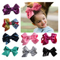 European and American children's jewelry new fashion sequins bowBowknot hairpin