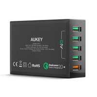 factory sale Aukey New Arrival Multi 5 Ports USB Power Adapter 7.2A Quick Charger USB Travel Charger