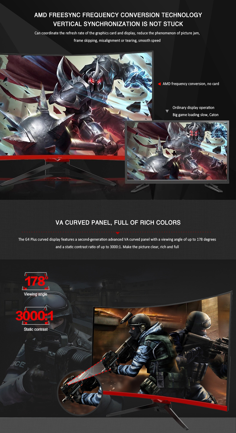 Ultra wide 32 inch QHD FHD144hz led curved gaming monitor 2k 2560*1440