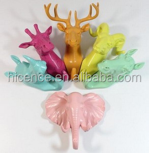 Colorful and Artificial Polyresin animal head hanger hook for wall decoration
