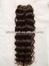 "Best quality natural brown color 18"" deep wave virgin Mongolian hair weft in stock"