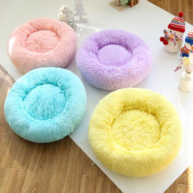 Round Candy Colored Dog Beds Soft Warm Pet House Kennel Breathable Cool Mat Cushions For Small Large Dogs Cats