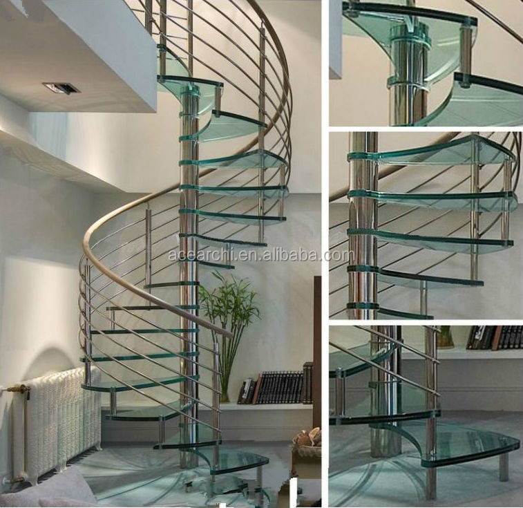 Prefabricated Indoor Stainless Steel Railing Spiral Stair with Glass Tread