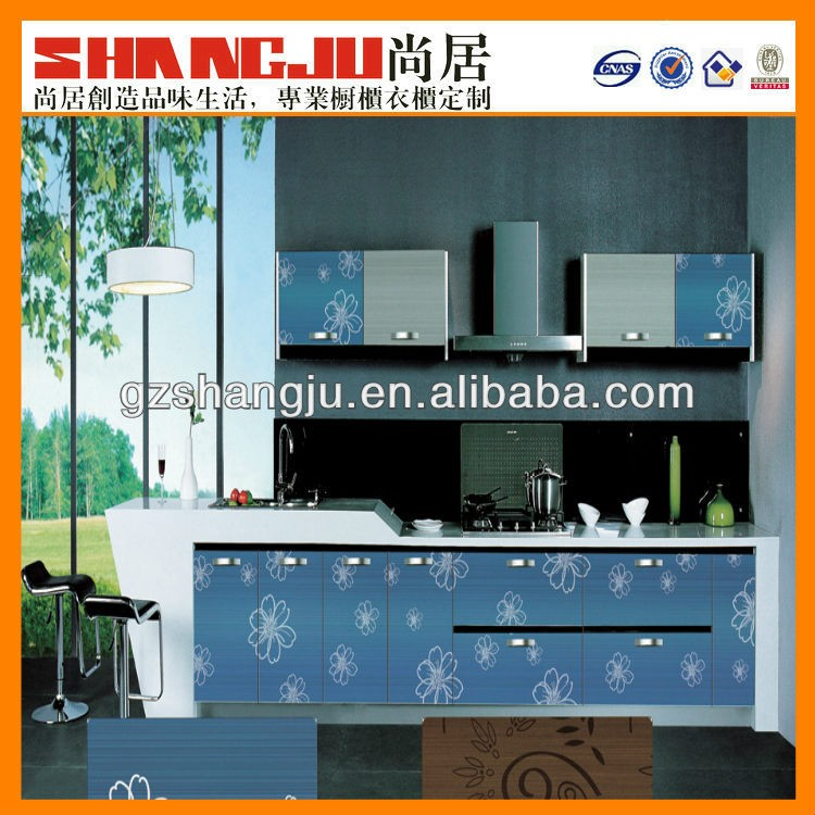 Low price kitchen cabinet simple design solid wood kitchen cabinet with open shelf island