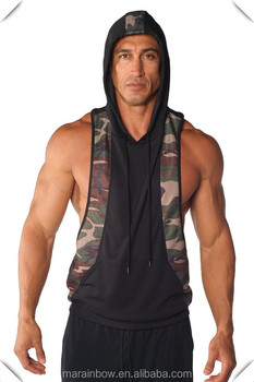 100% Polyester Dri-fit Two-tone Stringer Hoodie Mens Camo Mesh Stringer Hoodie Gym Sleeveless Workout Hoodie