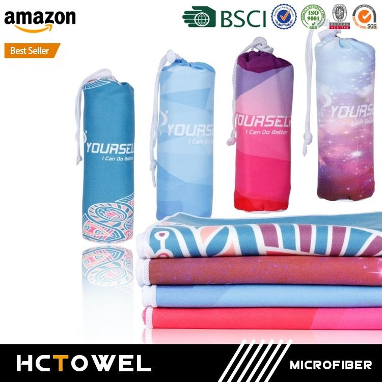 custom printed Ultra Absorbent non slip microfiber yoga towel for Fitness, Exercise,Sports, Outdoors